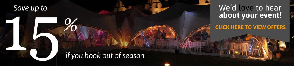 save up to 15% on marquee hire when booking out of season